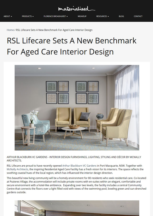 RSL Lifecare Sets A New Benchmark For Aged Care Interior Design